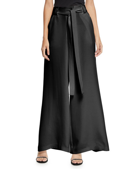 Etro Draped Tie-Waist Wide Leg Silk Pants