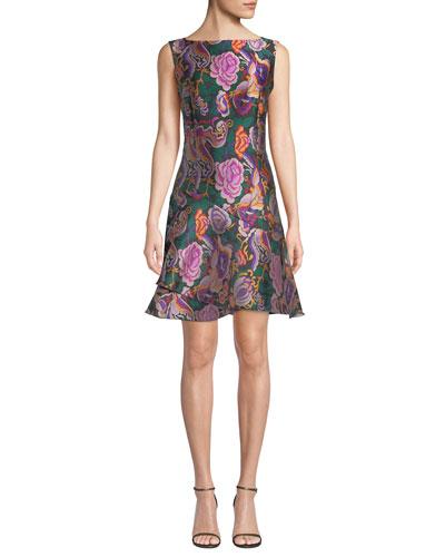 Sleeveless Cabbage-Rose Jacquard Dress