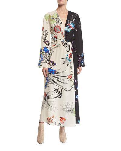 Long-Sleeve Floral-Print Bi-Color V-Neck Shirred Wrap Dress
