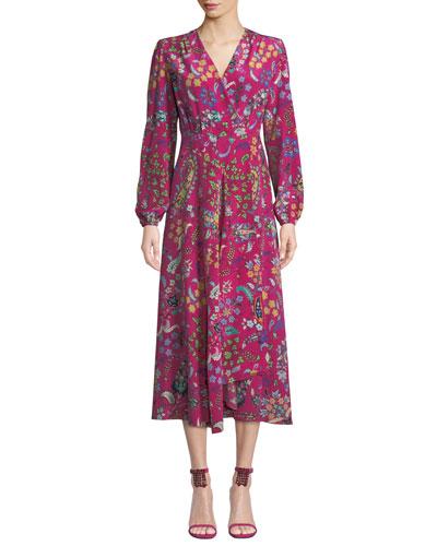 Long-Sleeve Floral Print Midi Wrap Dress
