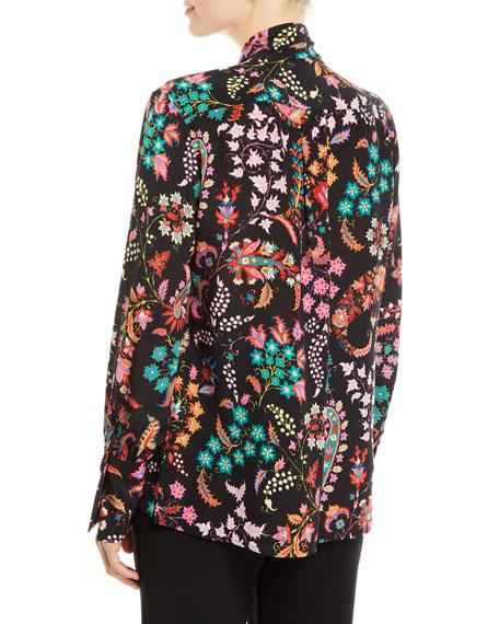 3d2a7ca8af24f Etro Floral-Print Tie-Neck Silk Blouse