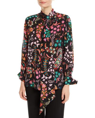 Floral-Print Tie-Neck Silk Blouse