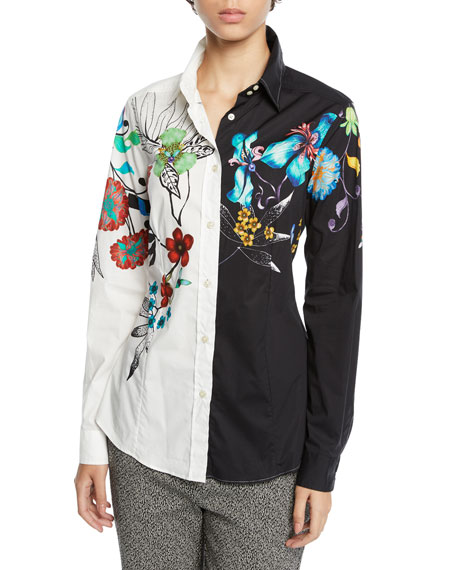 Etro Two-Tone Button-Front Floral-Print Blouse