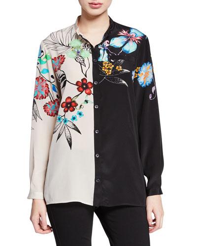 Two-Tone Tropical-Floral Button Front Silk Blouse