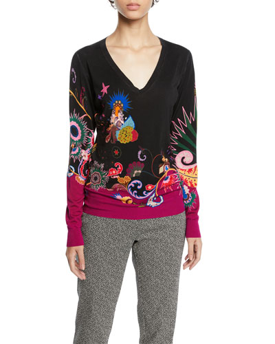 V-Neck Paisley Sweater
