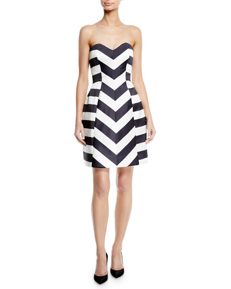 Monique Lhuillier STRAPLESS STRIPED MIKADO FIT-AND-FLARE COCKTAIL DRESS