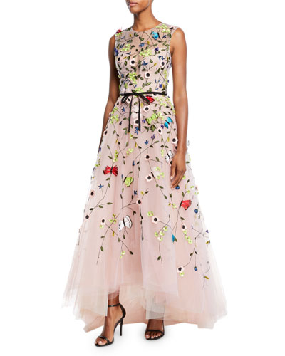 Jewel-Neck Sleeveless Floral-Embroidered Tulle A-Line Evening Gown