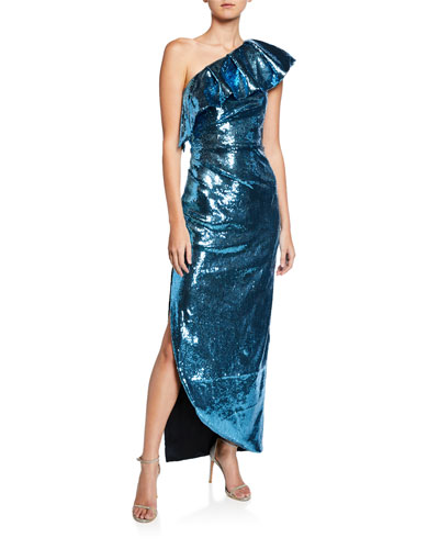 One-Shoulder Ruffle Sequined Gown