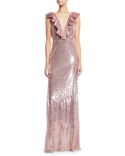 439ca296d81f Ruffle V-Neck Sleeveless Sequin Column Evening Gown Quick Look. Monique  Lhuillier