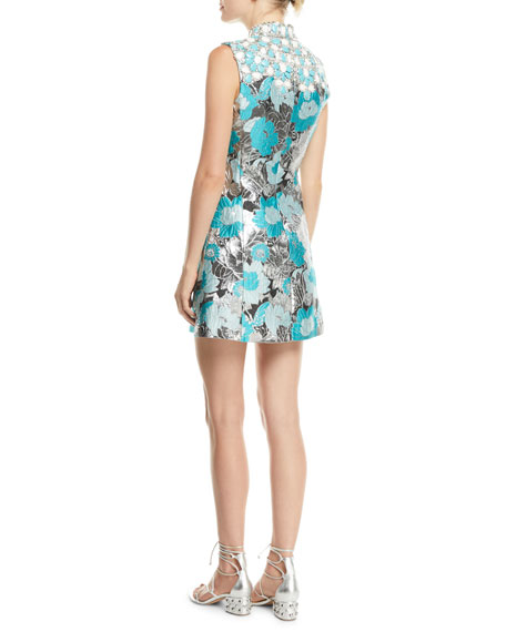 Embellished-Bib Sleeveless Metallic Floral-Brocade Short Dress