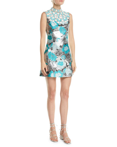 c5e21ee5fed5 Embellished-Bib Sleeveless Metallic Floral-Brocade Short Dress Quick Look. Michael  Kors Collection