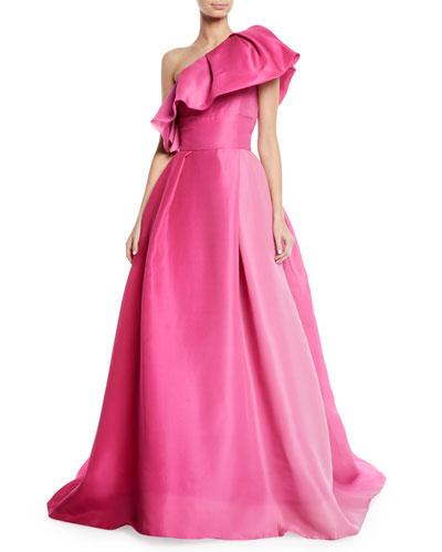 One-Shoulder Ruffle-Neckline Ball Gown