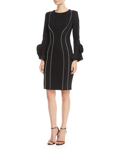 2a33459c2f Studded Bell-Sleeve Crepe Dress Quick Look. Michael Kors Collection