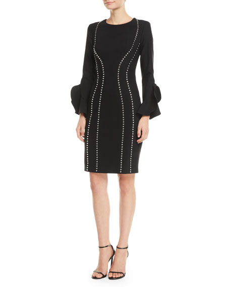 Michael Kors Collection Studded Bell-Sleeve Crepe Dress