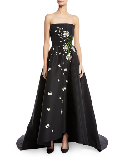 Strapless Dandelion-Embroidered High-Low Ball Gown