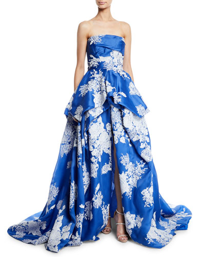 Strapless Hand-Tufted Floral-Print Organza Ball Gown