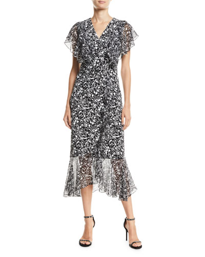 860ac9e383fb Painterly Floral-Print Ruffled Wrap Dress Quick Look. Michael Kors  Collection