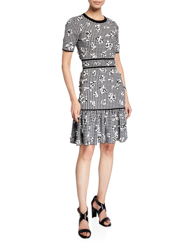 b24ca23d67bb Gingham Floral Jersey Flounce Dress Quick Look. Michael Kors Collection
