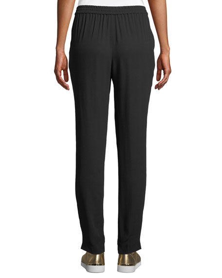 Silk-Georgette Jogger Pants