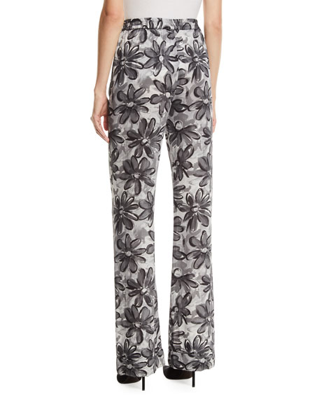 Daisy-Print Crushed Georgette Pajama Pants