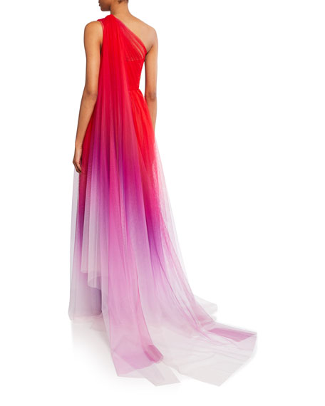 One-Shoulder Two-Tone Ombre Tulle Gown