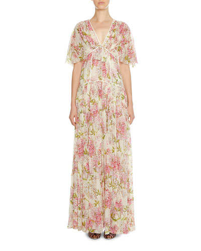 Floral-Print Short-Sleeve Tiered Gown