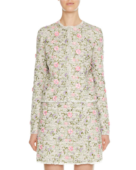 3D Floral-Embroidered Tweed Jacket