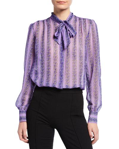 Floral Striped Tie-Neck Blouse