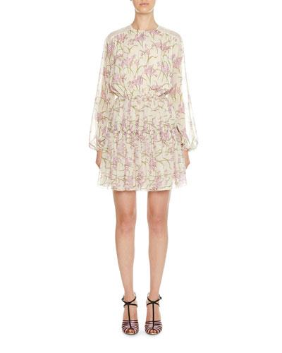Long-Sleeve Floral Cinch-Waist Dress