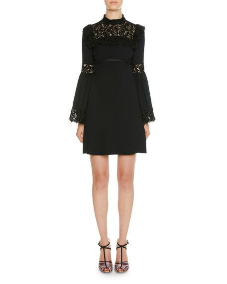 Mock-Neck Lace-Trim Bell-Sleeve Dress