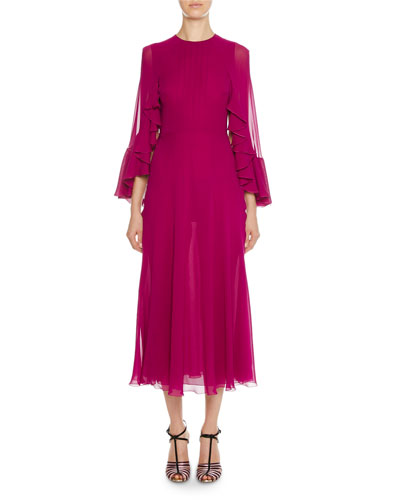 Cascading Cape-Back Georgette Dress