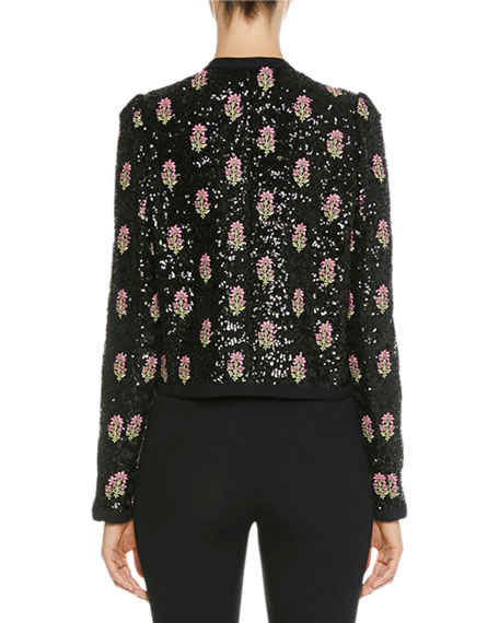 Floral-Sequined Bow-Neck Jacket