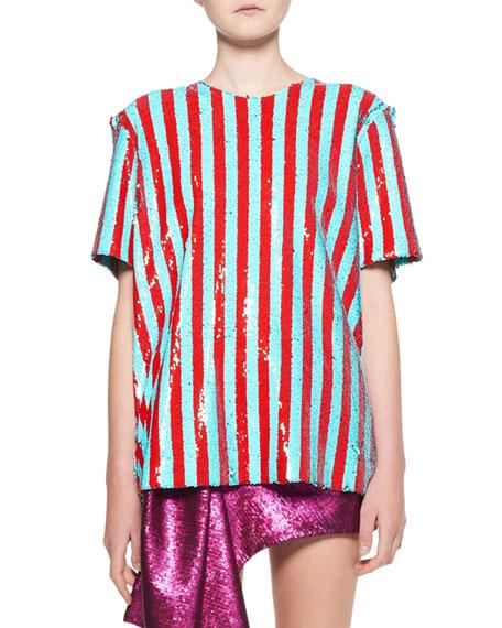 Halpern Short-Sleeve Sequin Striped Crewneck Top