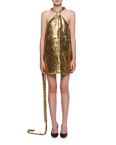Halter-Neck Golden Foil Georgette Mini Dress