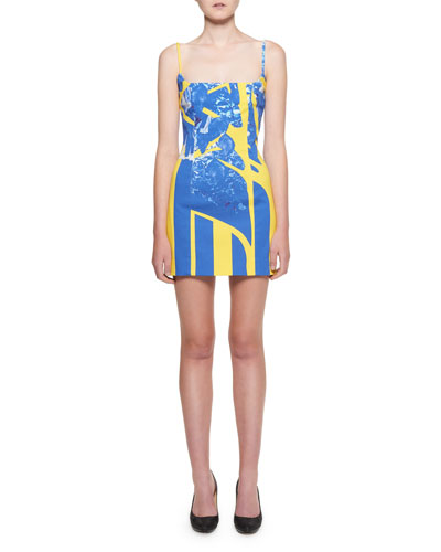 Square-Neck Graffiti-Denim Mini Dress