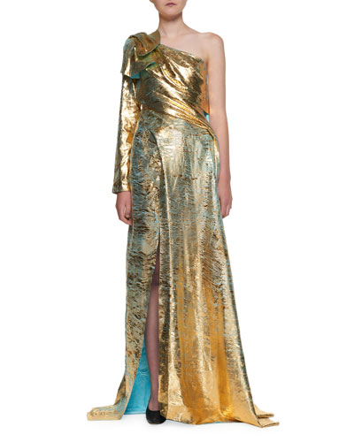 One-Shoulder Golden Foil Georgette Gown