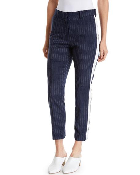 Racil Pinstriped Straight-Leg Cropped Pants