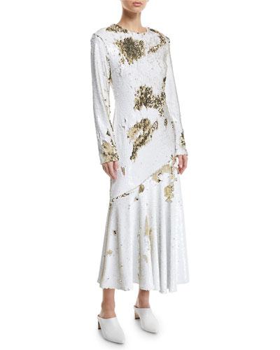 Long-Sleeve Sequin Midi Dress