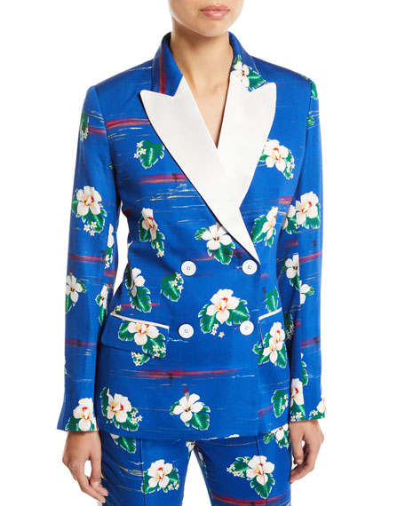 Racil Winston Hawaii Flower-Print Tux Jacket