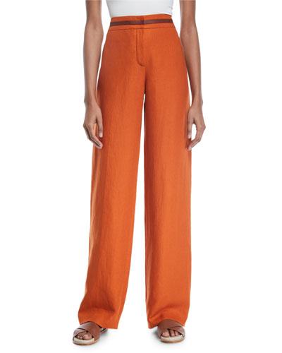 Carson Leather-Trim Linen Pants