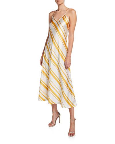 Candy-Striped Silk Slip Gown