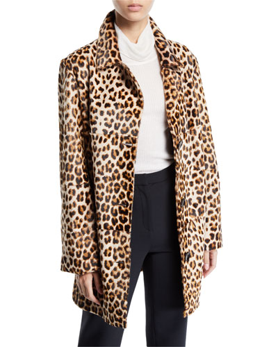 Leopard-Print Shearling and Leather Coat