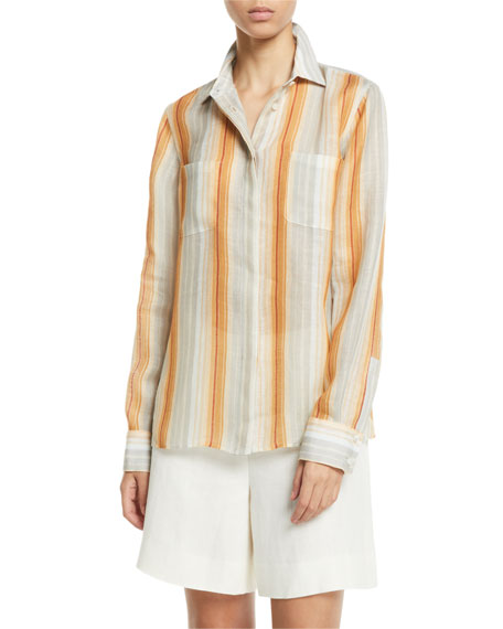 Loro Piana Adrian Striped Button-Front Long-Sleeve Shirt