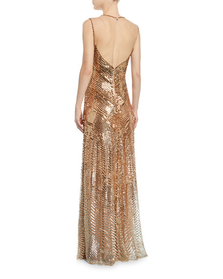Sequined Combo Halter-Neck Gown