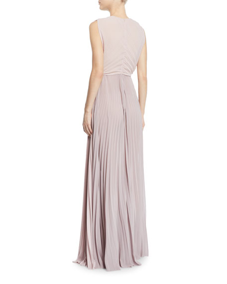 Crewneck Pleated Silk-Chiffon Gown
