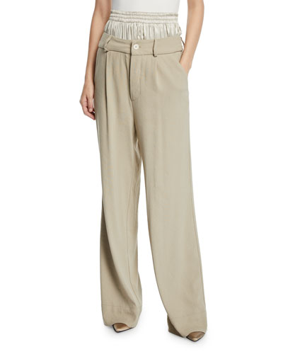 Ali Double-Waist Wide-Leg Pants