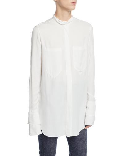 Frilled Button-Front Layered Cuff Button-Down Shirt