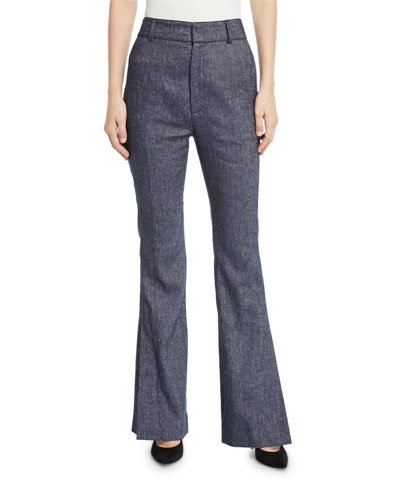 High-Waist Speckled Cotton Flare Pants