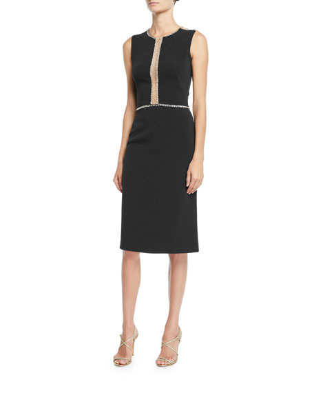 Jenny Packham SLEEVELESS EMBELLISHED ILLUSION SHEATH DRESS