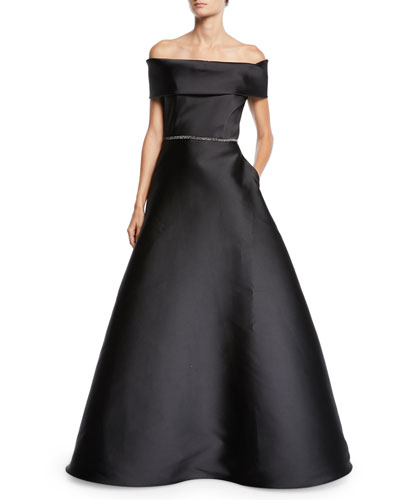 Off-The-Shoulder Crystal-Belted Ball Gown
